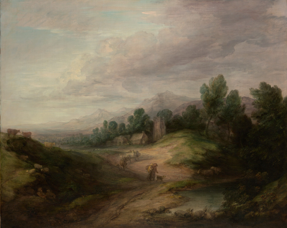 Thomas Gainsborough. Landscape with a forest and a village in the hills