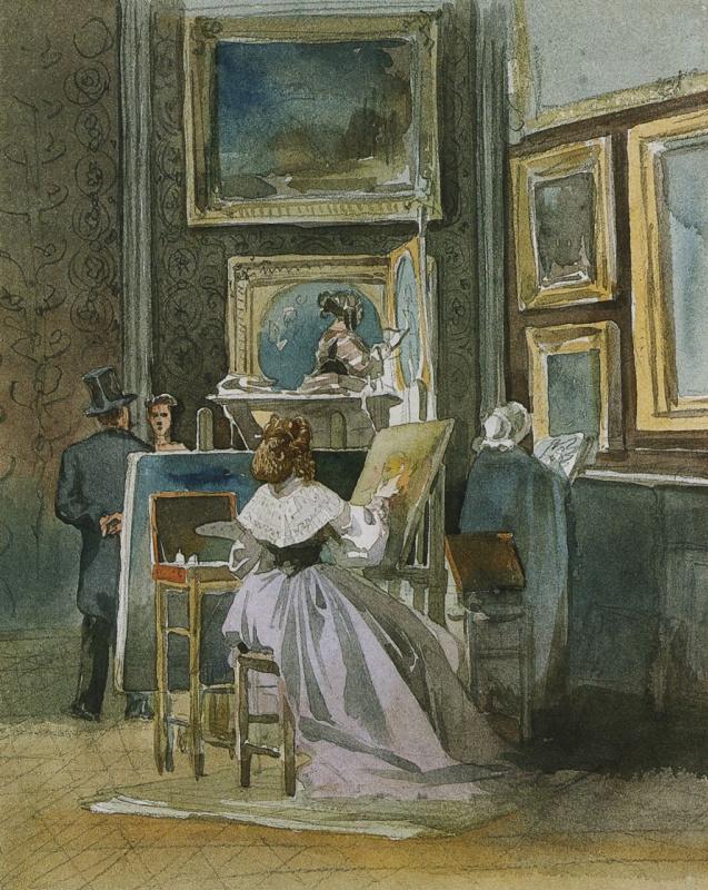 Копировальщица в картинной галерее