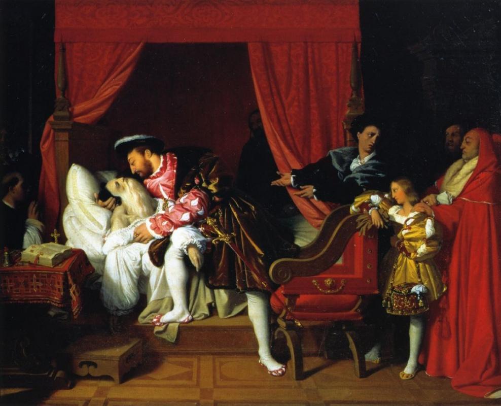 Результат Изображение для «СМЕРТЬ Леонардо да Винчи», 1818. Жан Огюст Доминик Энгр