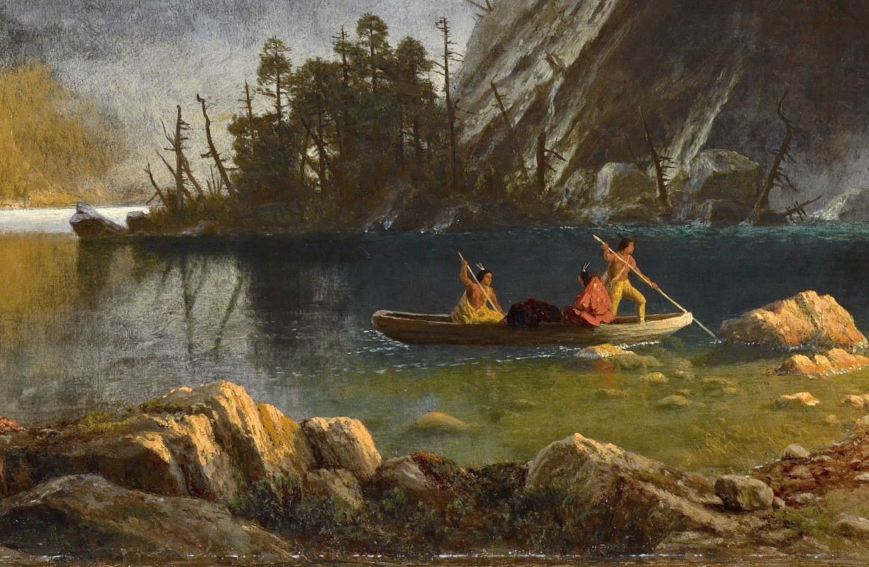 Альберт Бирштадт. Рыбалка индейцев. Фрагмент. Каноэ на реке