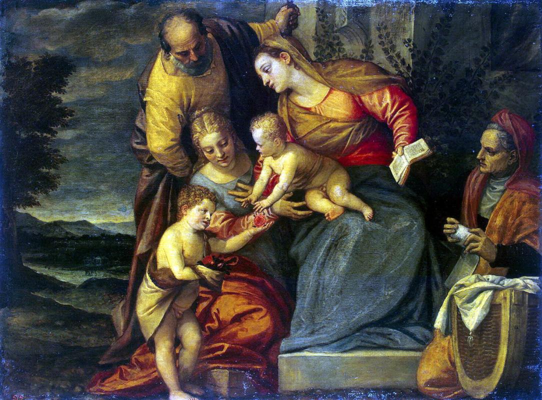 Бенедетто Калиари. Святое Семейство со святыми Екатериной, Анной и Иоанном