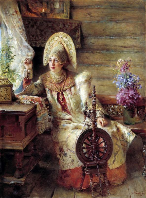 Константин Егорович Маковский. Боярышня у окна (с прялкой)