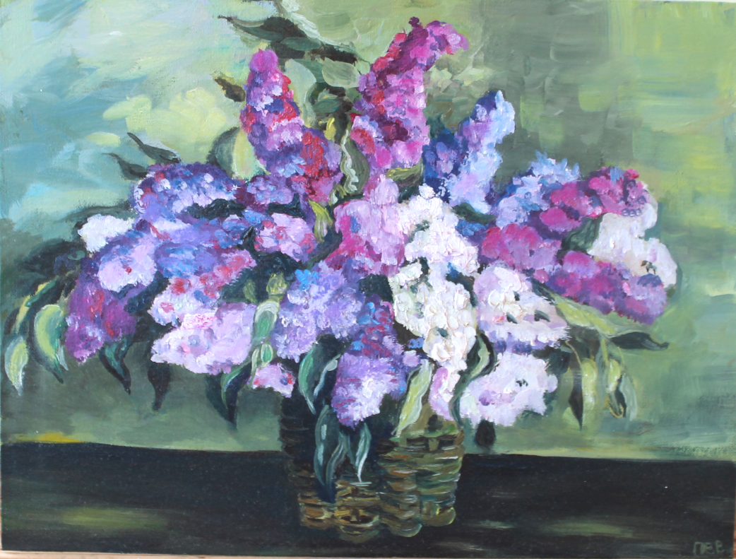 "Vasilisa Viktorovna Perestoronina. Painting based on Konchalovsky ""Lilac in the basket"""