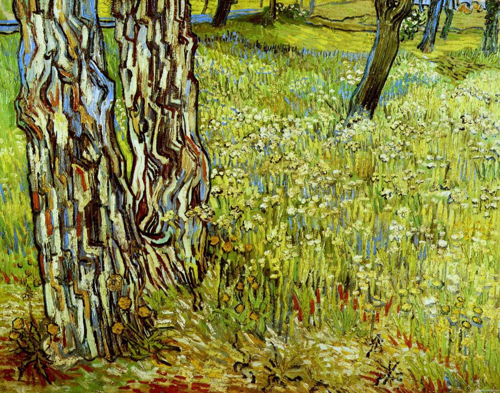 Винсент Ван Гог. Сосны и одуванчики в саду больницы Св. Павла