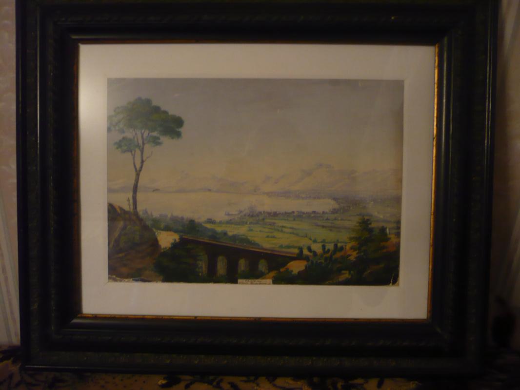 Неизвестный  художник. Вид Палермо с горы Сан Пелегрино.  В рамке.