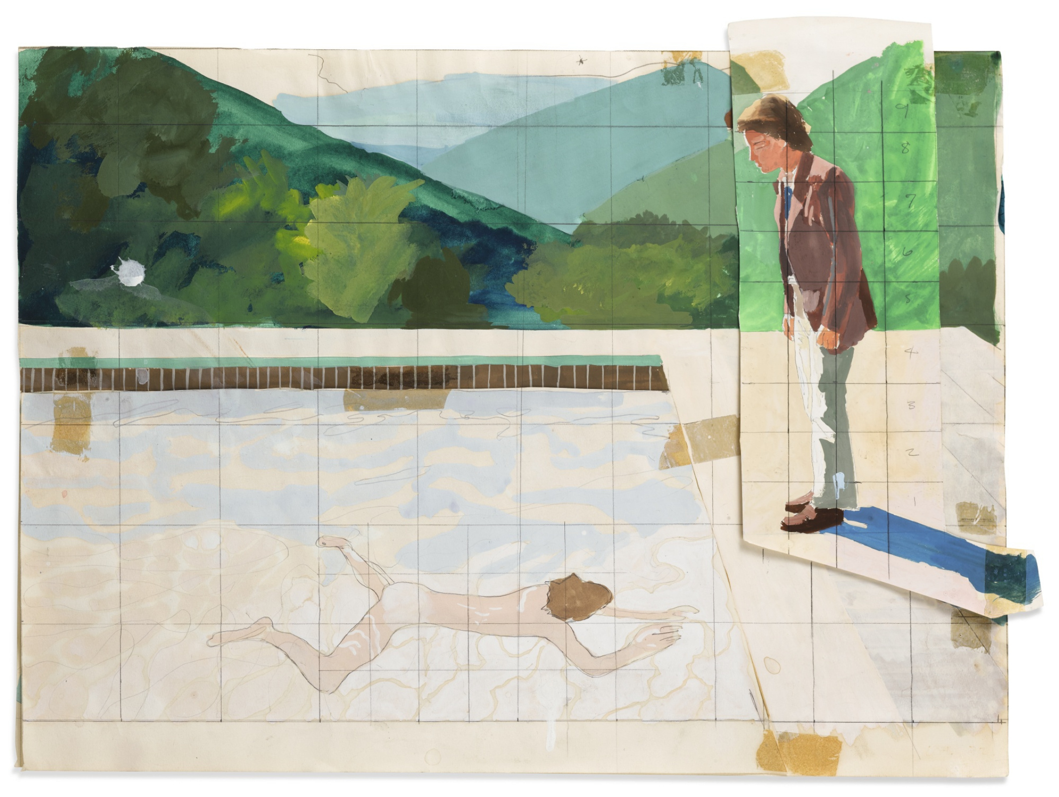 Дэвид Хокни. Эскиз для  «Портрета художника (Бассейн с двумя фигурами)»
