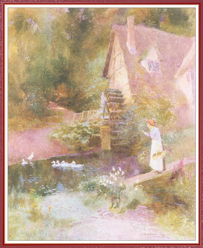 Томас Маккей. Девушка и утки перед водяной мельницей