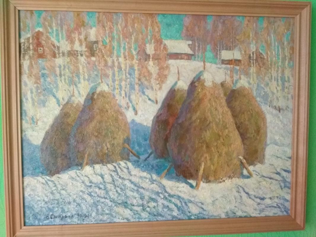 """Vladimir Alexandrovich Smirnov. """"Haystacks in winter"""""""