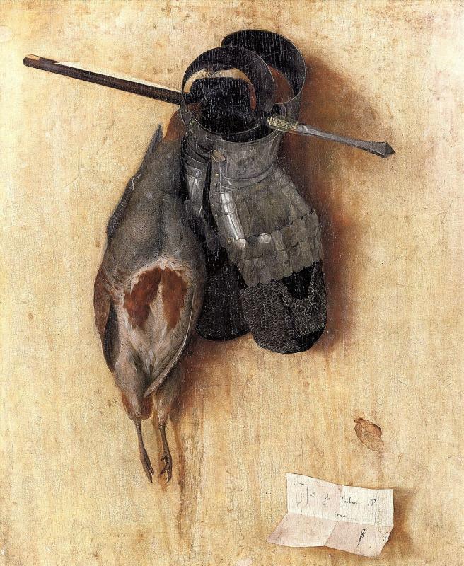Якопо де Барбари. Натюрморт с куропаткой, латной руковицей и арбалетным болтом.