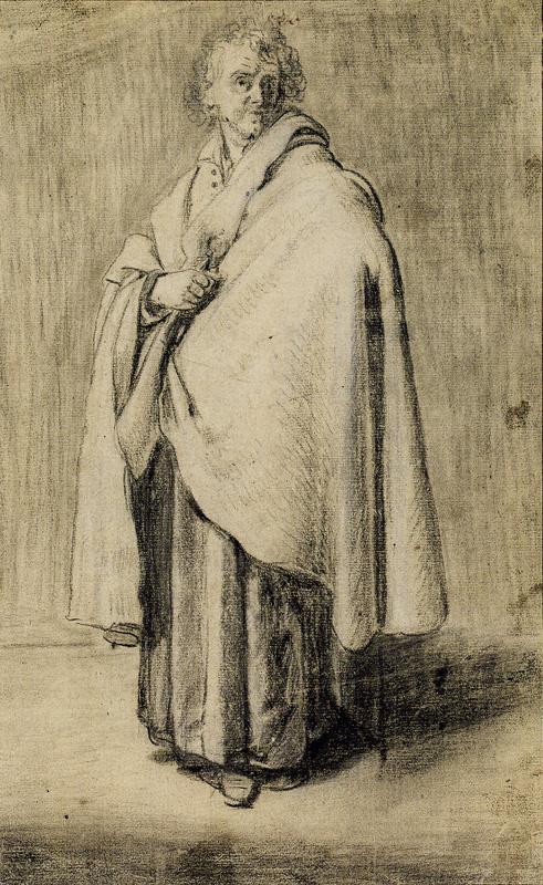 Ян Ливенс. Стоящий мужчина в драпировке. Рисунок для изображения святого Петра
