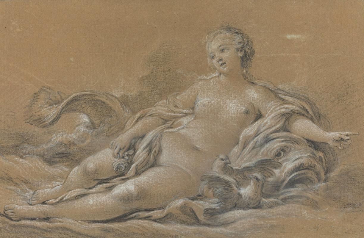 Francois Boucher. Venus lying on a dolphin