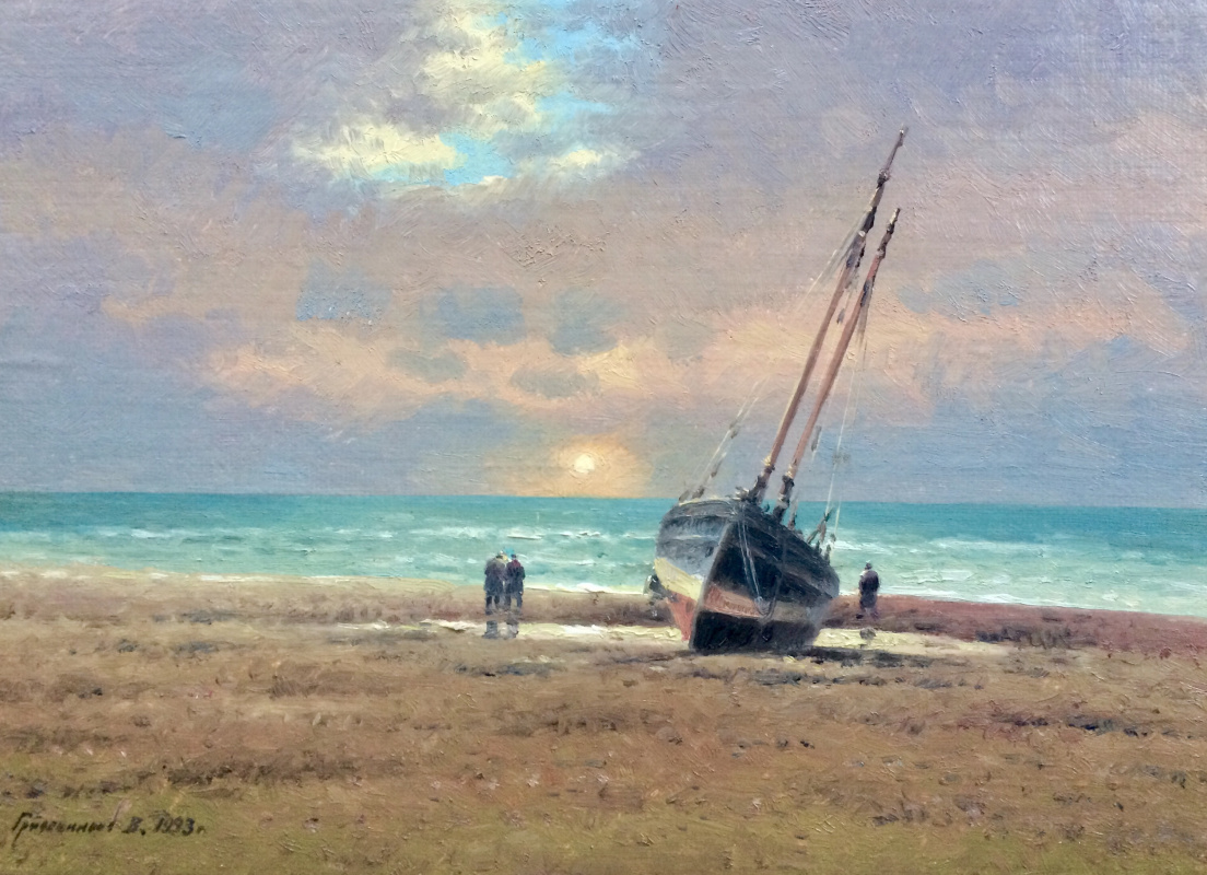 Vasily Ivanovich Gribennikov. Evening. Sea shore