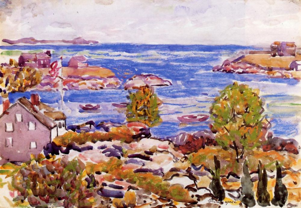 Maurice Braziel Prendergast. House with flag in the Cove