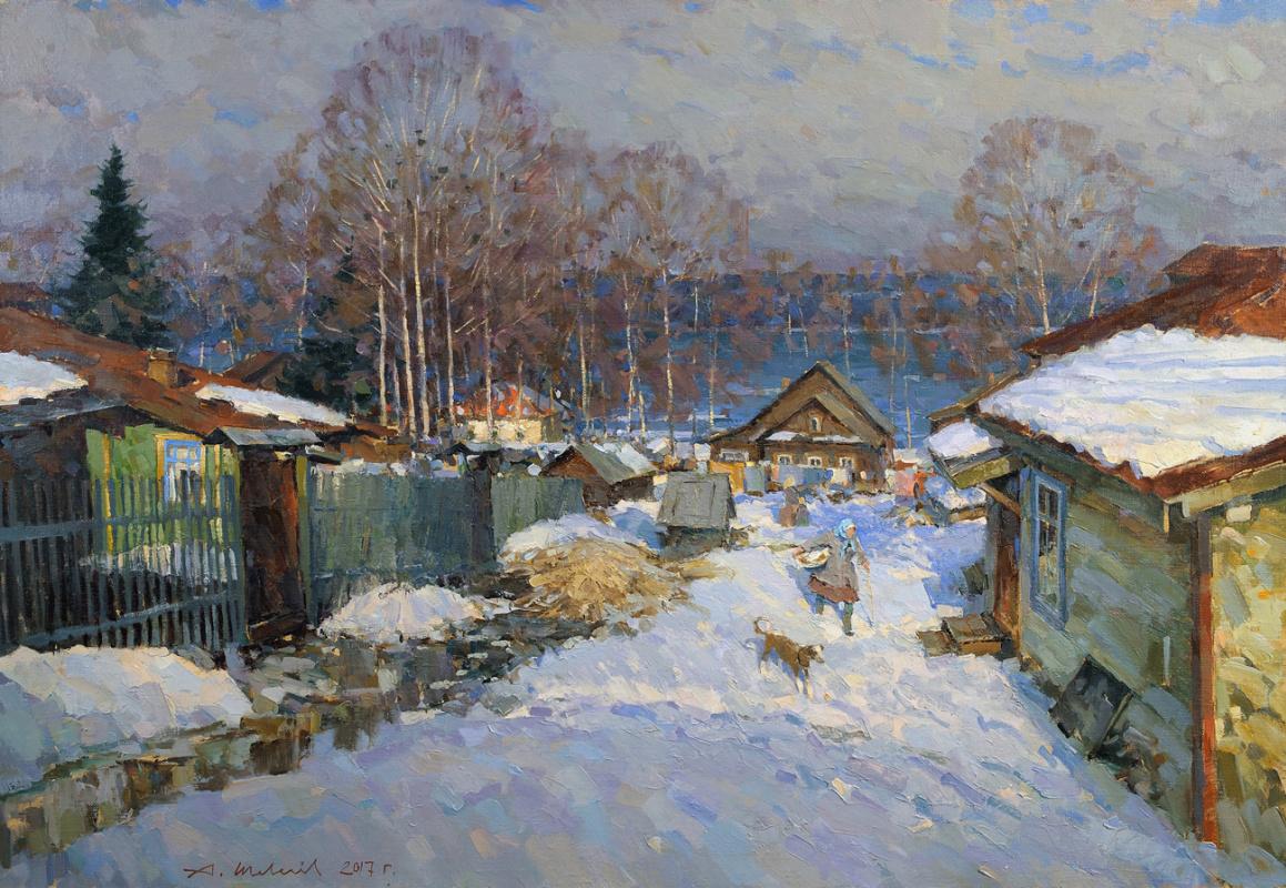 Alexander Victorovich Shevelyov. March in Ples. Oil on canvas 76.5 x 110.5 cm. 2017