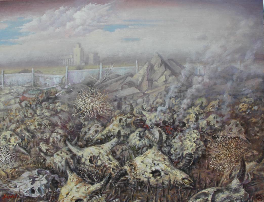 Сергей Геннадьевич Дьяков. Полигон.  х/м 85 -110 см.
