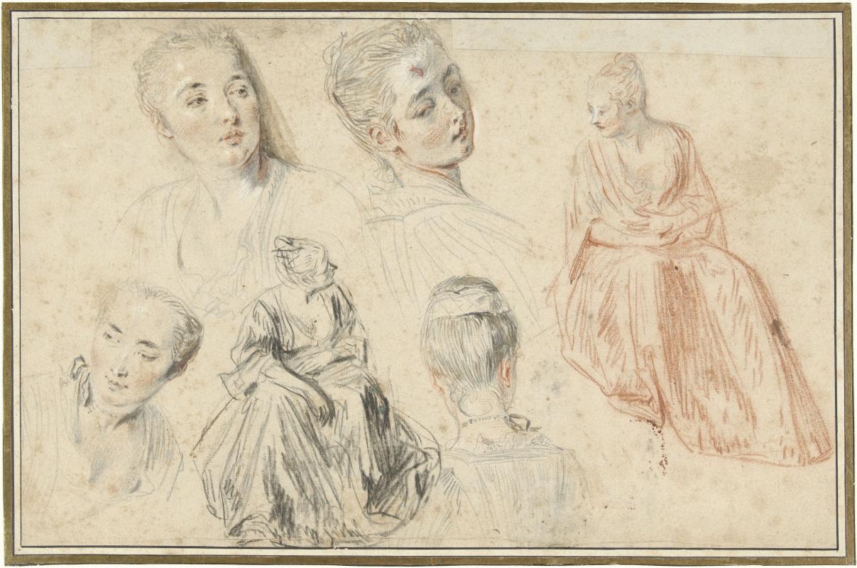 Антуан Ватто. Четыре эскиза женской головы и двух сидящих женщин