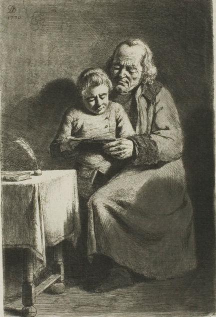 Жан-Жак де Буассье. Пожилой мужчина и мальчик читают книгу