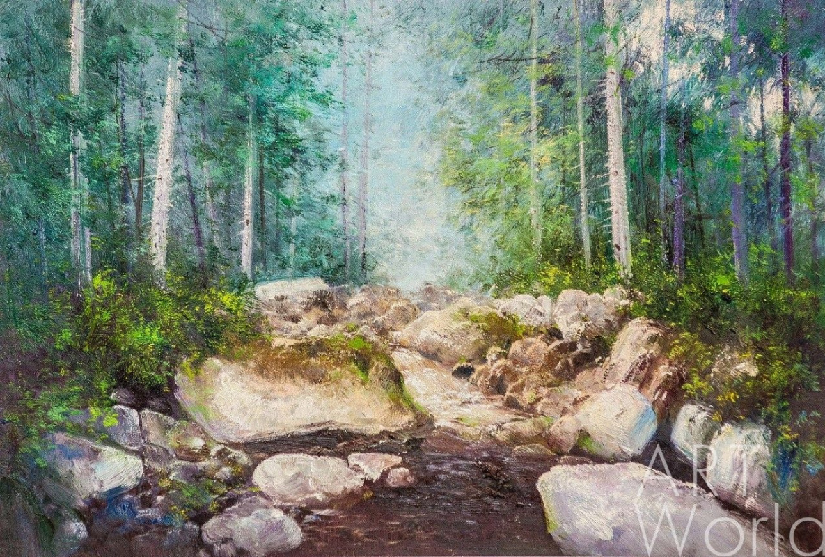Andrey Sharabarin. In the morning in the forest by the stream