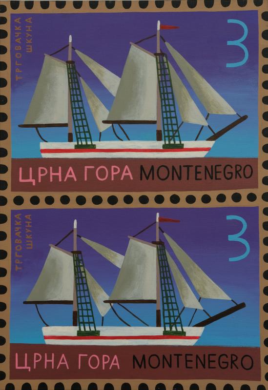Екатерина Флоренская. Две черногорские марки с торговой шхуной