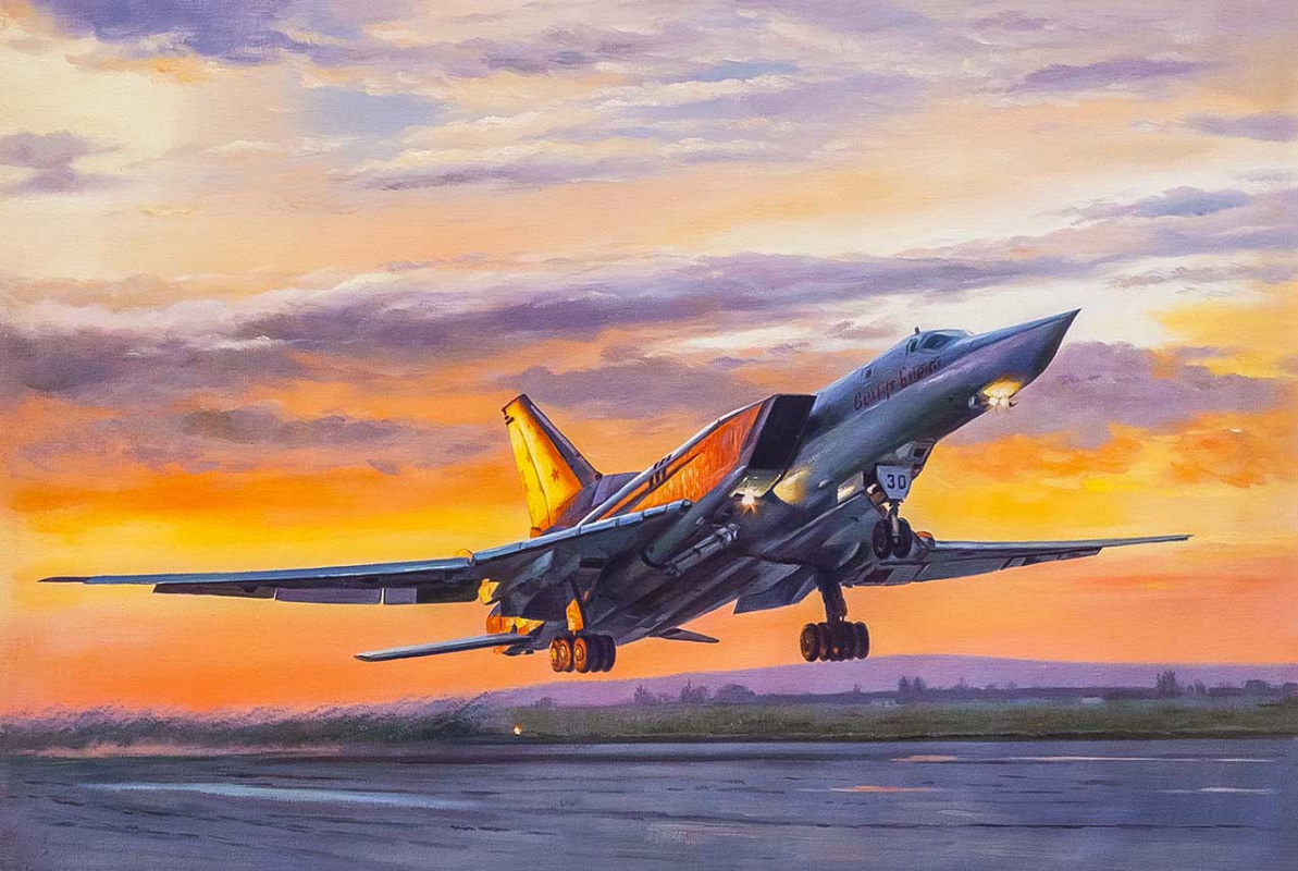 Savely Kamsky. Aircraft Tu-22 M3. Leaving into the sunset