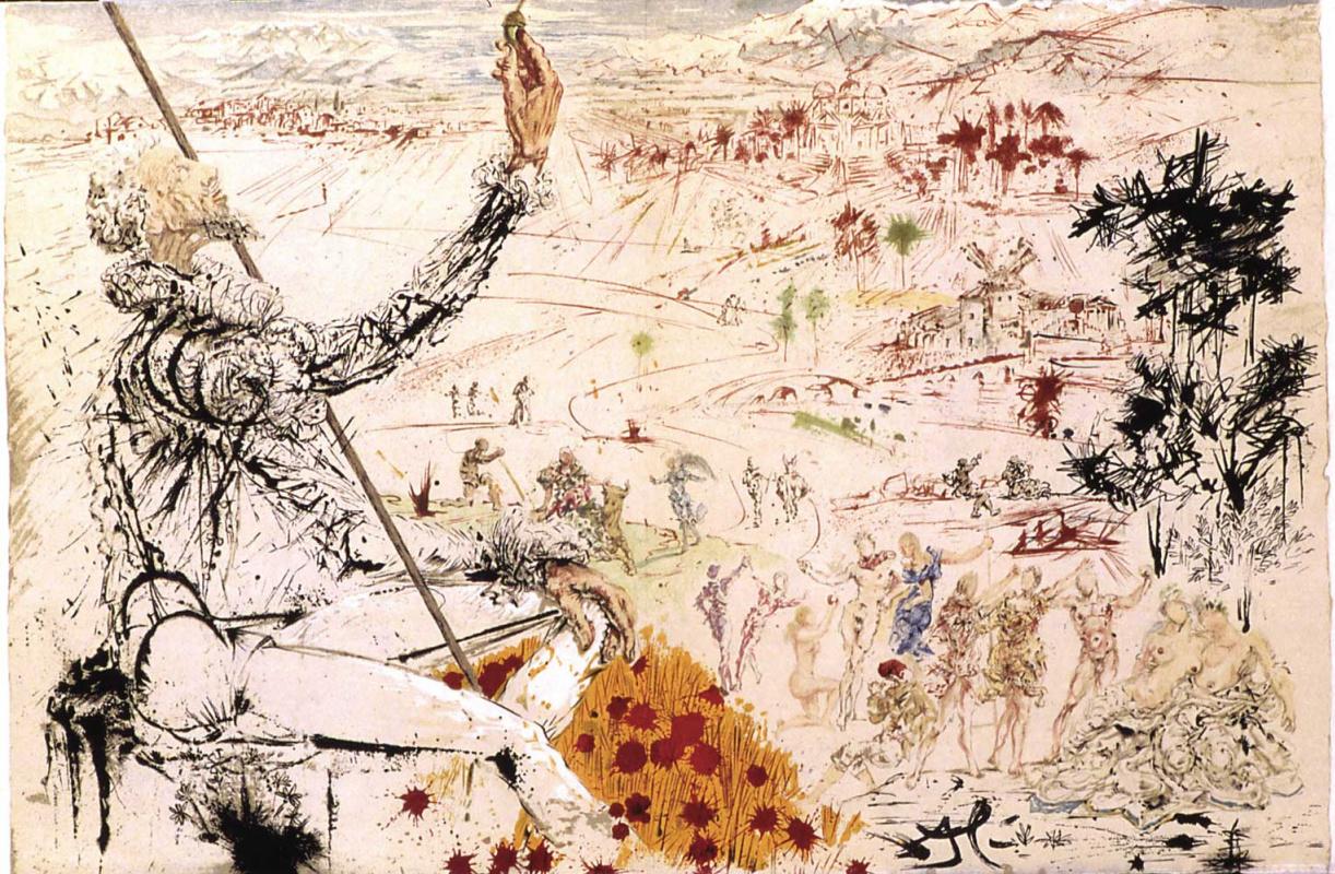 """Сальвадор Дали. Дон Кихот. Золотой век (Иллюстрация к роману """"Дон Кихот"""")"""