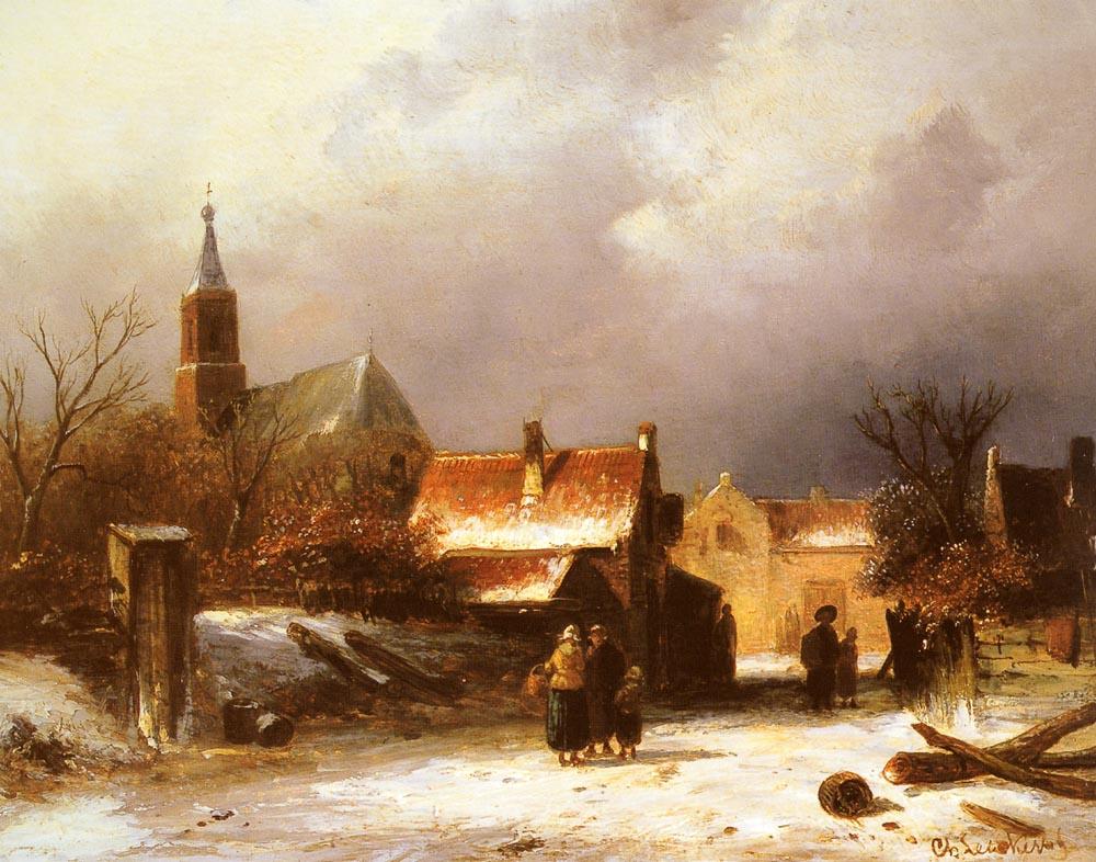 Charles Henry Joseph Lackert. Figures in the snow