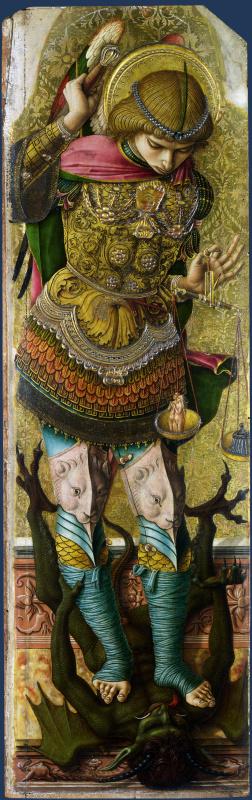 Карло Кривелли. Архангел Михаил. Алтарный полиптих св. Петра Мученика, левая створка, наружная сторона