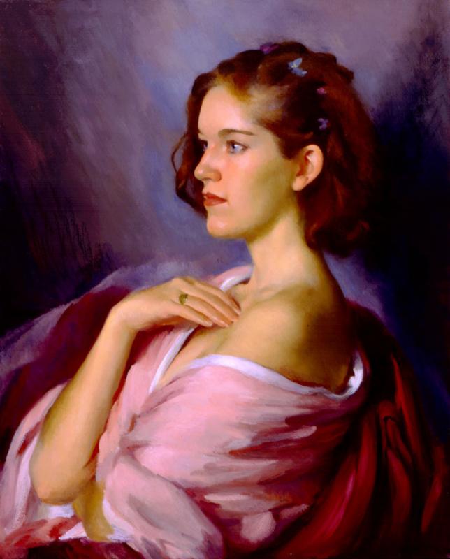 Мэри Минифи. Женщина в розовом, в профиль