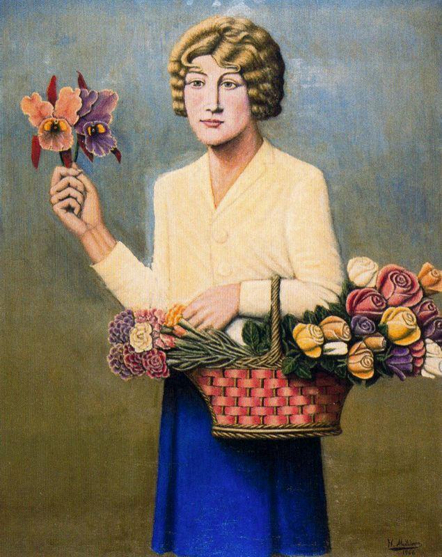 Хигинио Маллебрера. Женщина с корзиной цветов