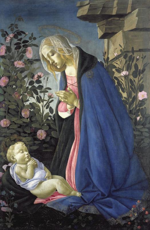 Сандро Боттичелли. Мадонна перед спящим младенцем