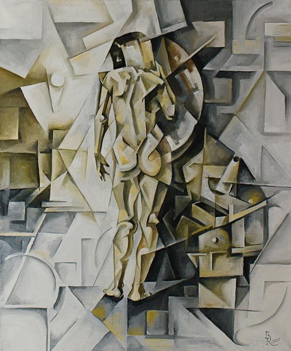 Vasily Krotkov. The girl in the mirror. Kubofuturizm
