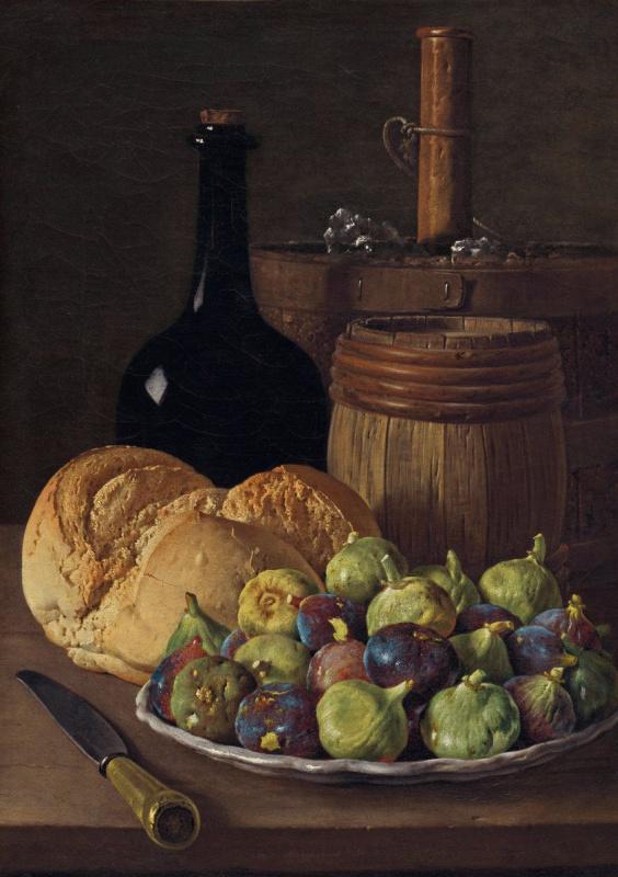 Луис Мелендес. Натюрморт с инжиром и хлебом