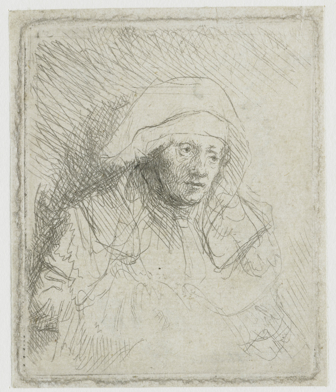 Rembrandt Harmenszoon van Rijn. A sick woman in the white shawl (Saskia)