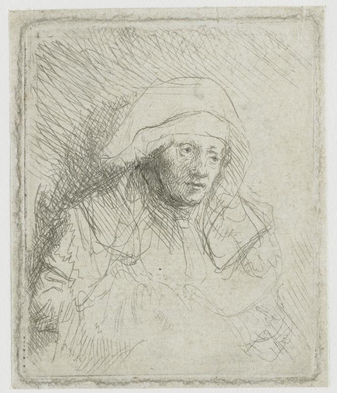 Rembrandt Harmenszoon van Rijn. A sick woman in the white shawl (Saskia)