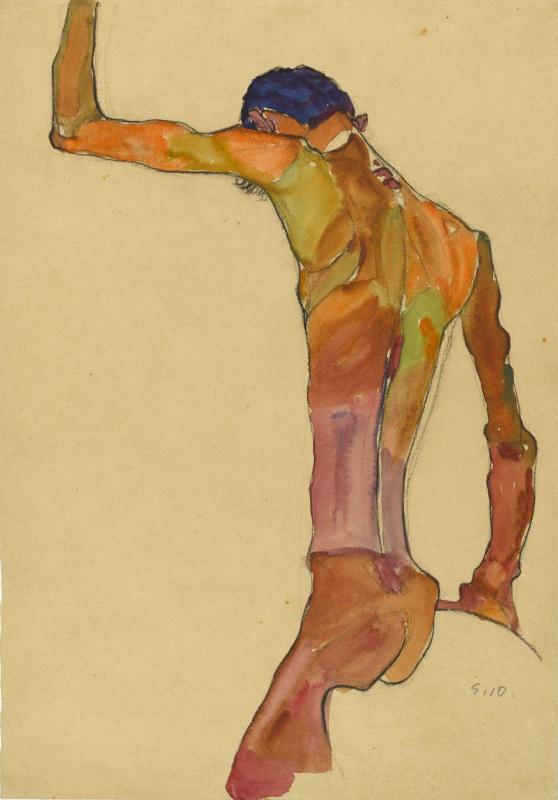 Эгон Шиле. Сидящий обнажённый