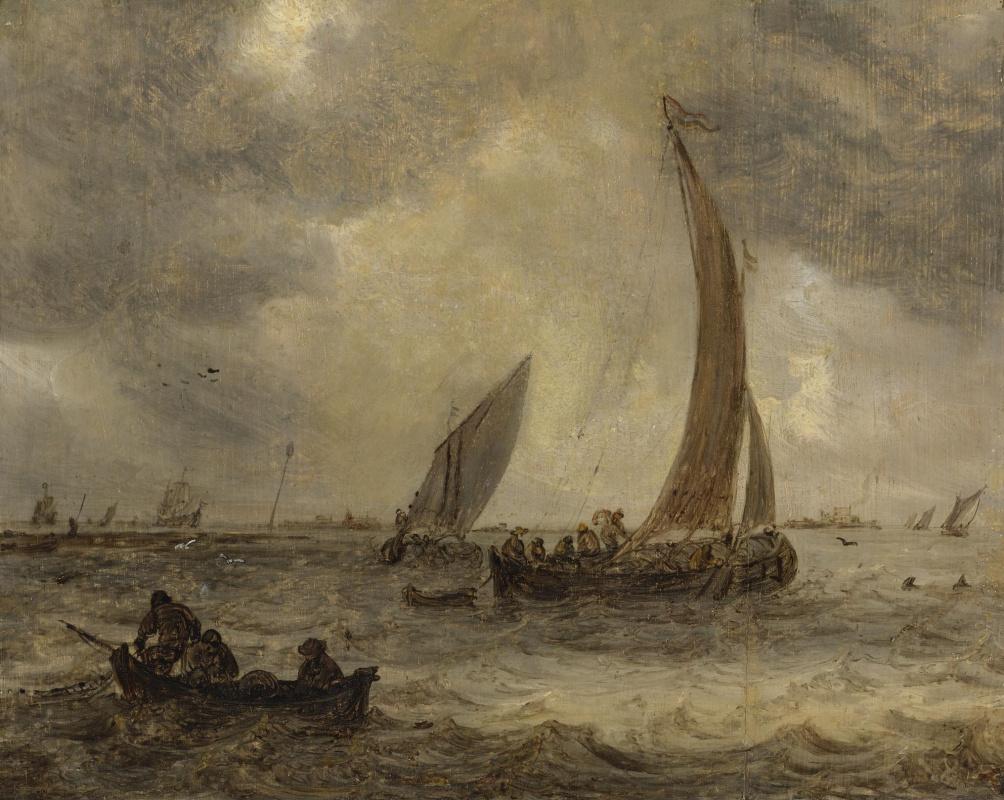 Jan van Goyen. Many boats in the estuary