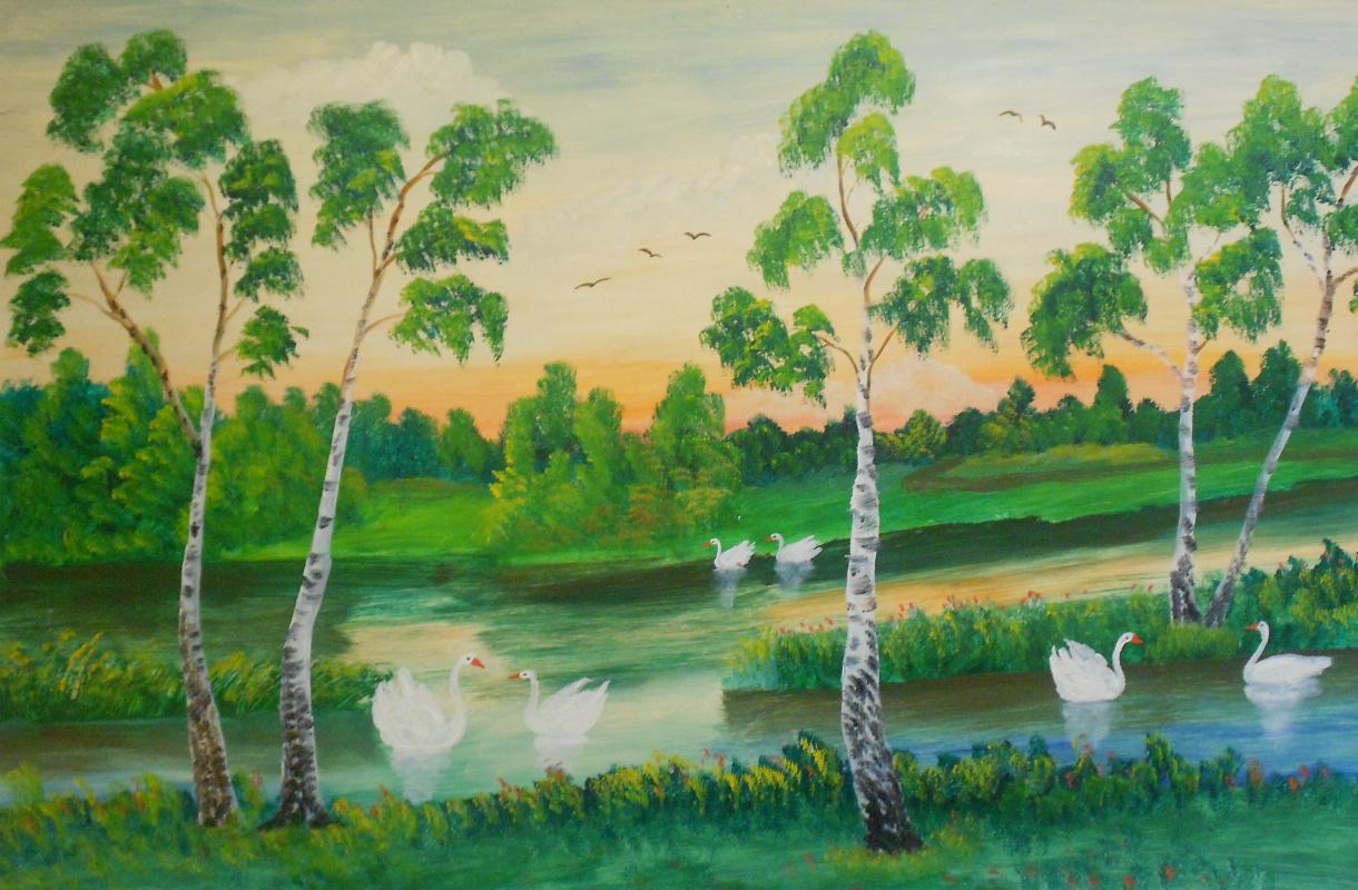 Vasily Vasilyevich Grigoryev. Lake with swans