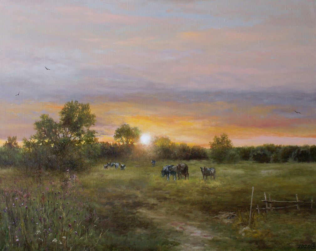 Сергей Владимирович Дорофеев. Summer evening in the meadow
