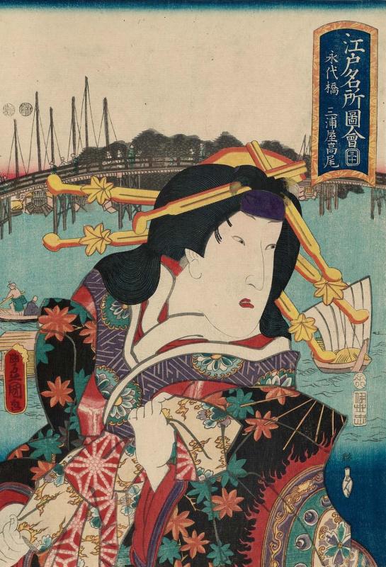 "Utagawa Kunisada. Atabase: Actor Segawa Kikunojo III in the role of Mirage Takao. A series of ""Portraits and famous places in Edo"""