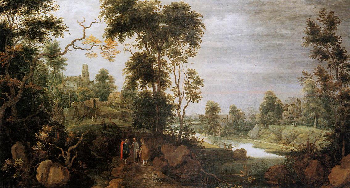 ДХондекоетер Гиллис. Landscape with road to Emmaus