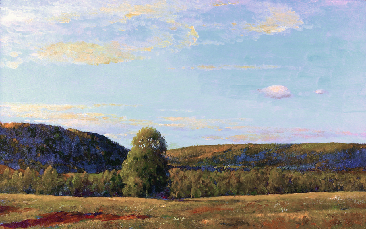Alexander Shevelyov. The gardens and clouds. Oil on cardboard 25.2 x 40 cm 2005