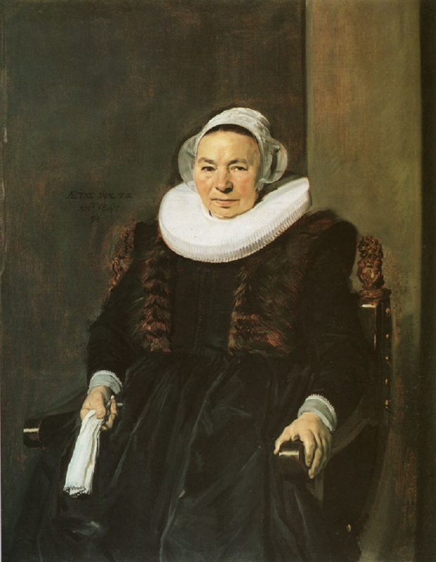 France Hals. Portrait of a seated woman with white gloves in his right hand