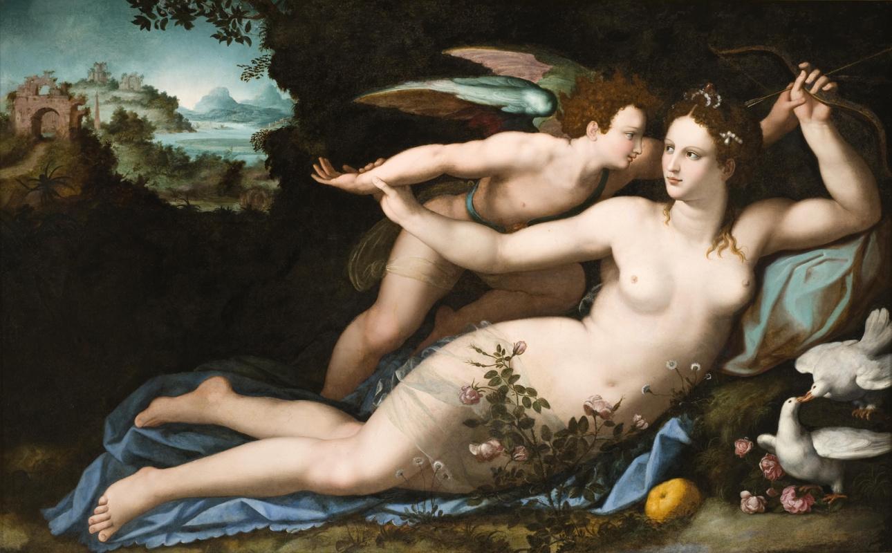 Alessandro Allori. Venus disarms Cupid. About 1570