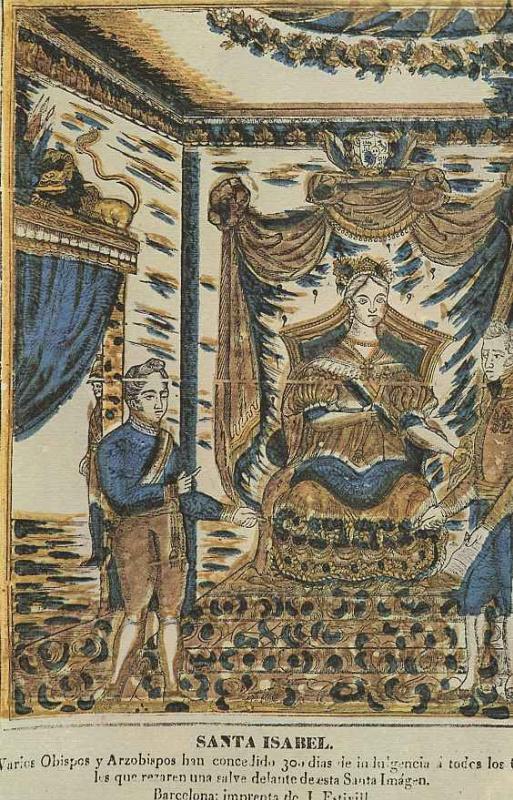 Ксилограф из печатни Эстивиль в Барселоне. Святая Исабель