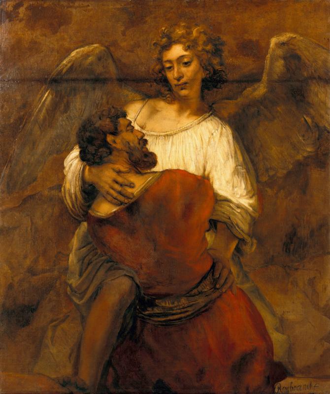 Rembrandt Harmenszoon van Rijn. Jacob wrestling with the angel