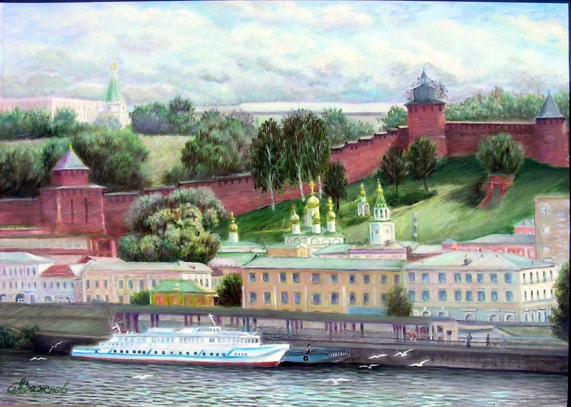 """Alexander Fedorovich Vazhnev. """"Nizhny Novgorod. View from the river."""""""