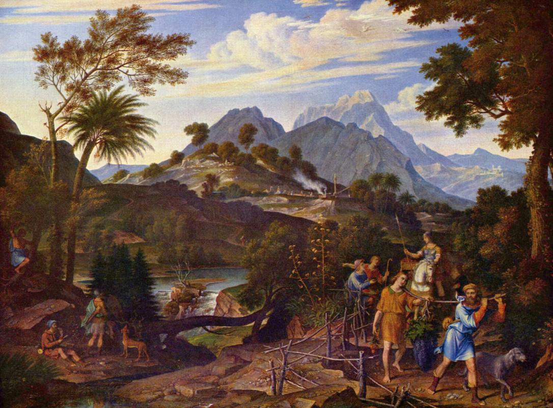 Йозеф Антон Кох. Пейзаж с лазутчиками, возвращающимися из земли обетованной