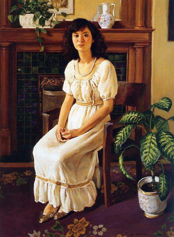 Ван Чуй. Сидящая девушка в белом платье