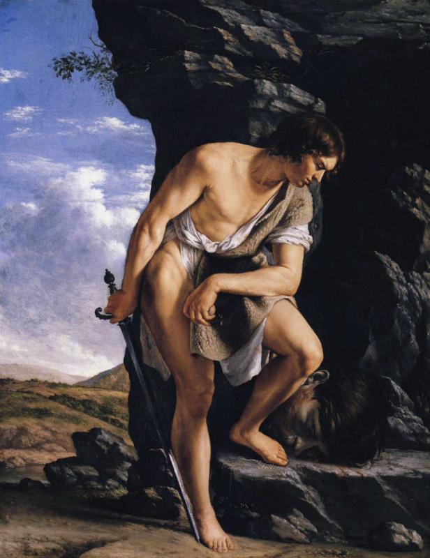 Орацио Джентилески. Давид, разглядывающий голову Голиафа
