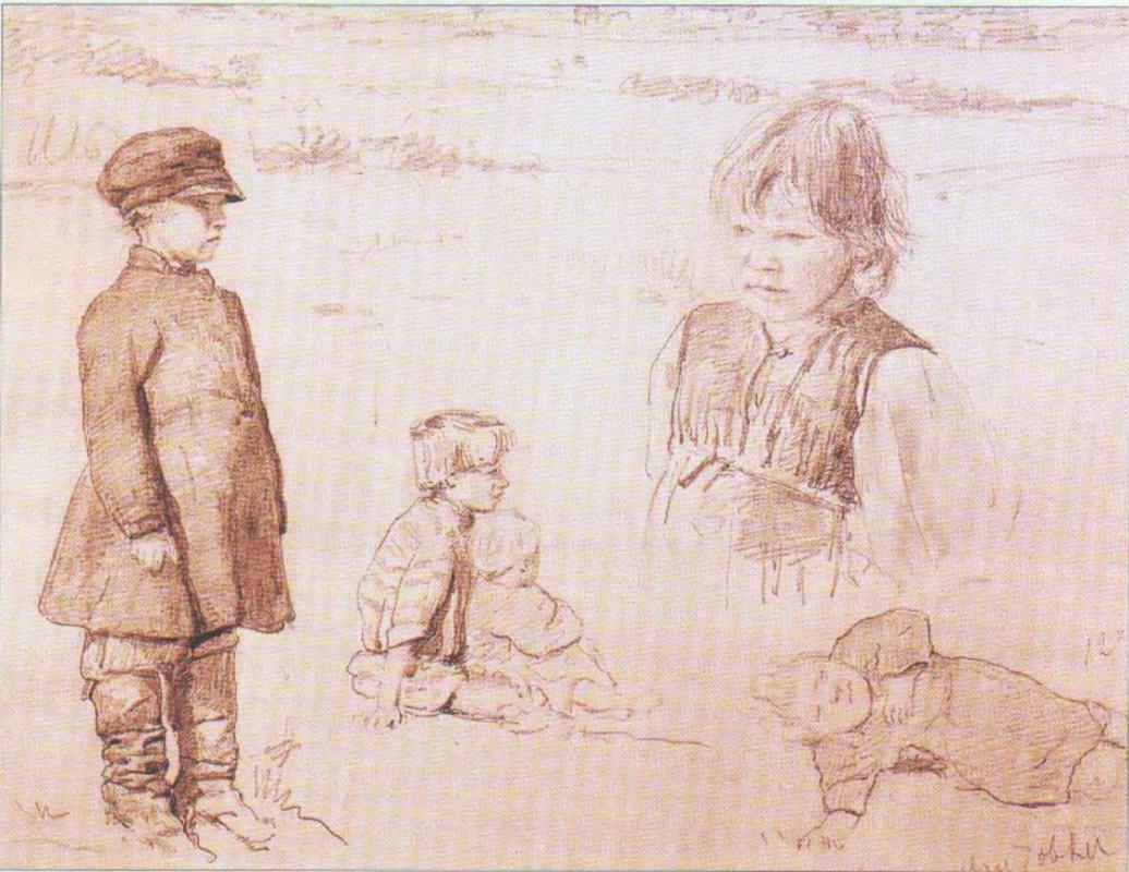 Валентин Александрович Серов. Зарисовки крестьянских детей. Абрамцево